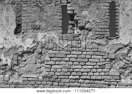 Brick Wall With Loopholes Of Old Fortress