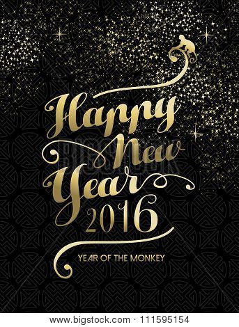 Happy Chinese New Year Monkey 2016 Gold Text Sky