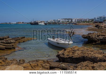 Fishing Boat On A Protaras Beach, Mediterranean Sea, Cyprus