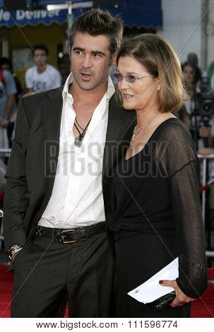 WESTWOOD, CALIFORNIA. July 20, 2006. Colin Farrell and mom at the World premiere of 'Miami Vice' held at the Mann's Village Theater in Westwood, California United States.