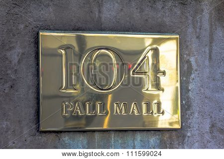 Gold Sign Pall Mall 104 On The Stone Wall