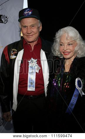 HOLLYWOOD, CALIFORNIA. November 27, 2005. Buzz Aldrin and wife Lois attend the 2005 Hollywood Christmas Parade at the Hollywood Roosevelt Hotel in Hollywood, California United States.