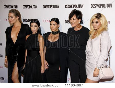 Khloe Kardashian, Kourtney Kardashian, Kim Kardashian, Kris Jenner and Kylie Jenner at the Cosmopolitan's 50th Birthday Celebration held at the Ysabel in West Hollywood, USA on October 12, 2015.