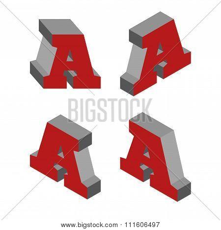 Letter A. Isometric 3D alphabet vector font