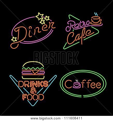 Retro Neon Light Sign Set Food Coffee Drink