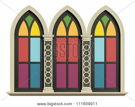 Mullioned Gothic Window With Stone Frame