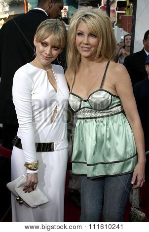 HOLLYWOOD, CALIFORNIA - June 13 2005. Hilary Duff and Heather Locklear attend at the