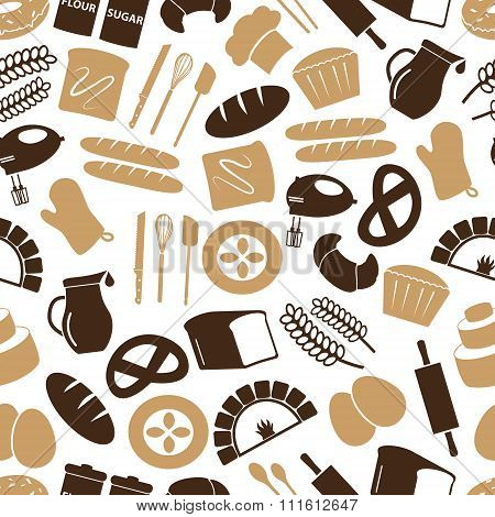 Simple Bakery Items Icons Seamless Color Pattern Eps10