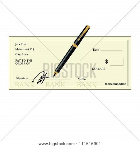 Bank check and pen
