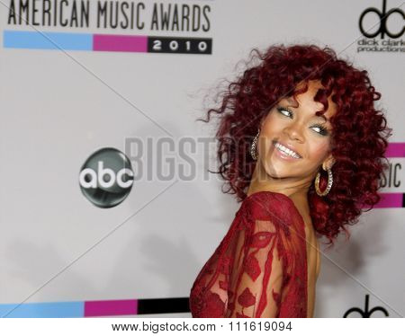 Rihanna at the 2010 American Music Awards held at Nokia Theatre L.A. Live in Los Angeles, USA on November 21, 2010.
