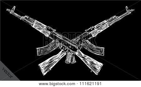 Engrave isolated Kalashnikov illustration sketch