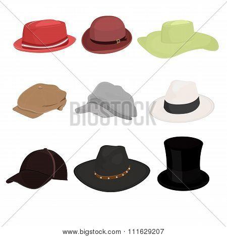 Hat Set Of Nine Isolate On White Background