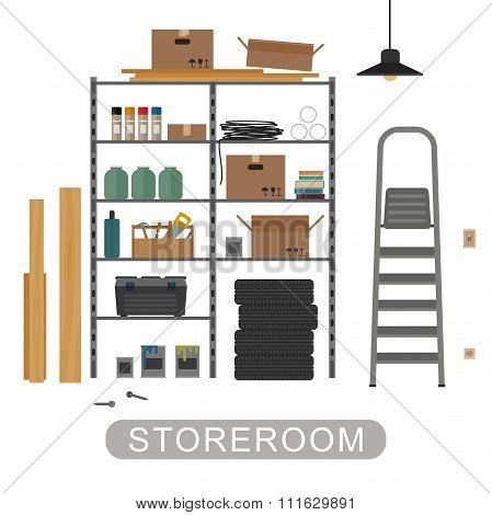 Storeroom interior on white background.