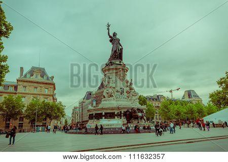 Marianne monument, Place de la Republique, Paris, France