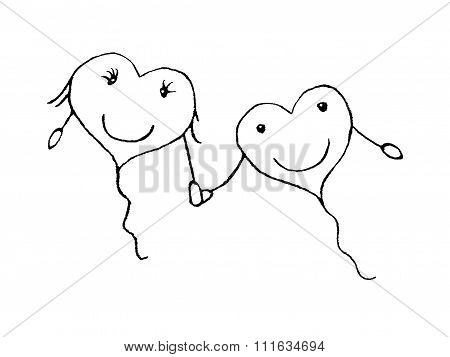 Love Couple Concept Pencil Drawing