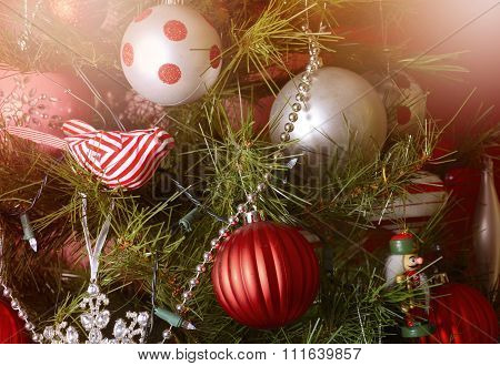 Closeup Of Ornaments On Christmas Tree