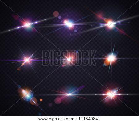 Set realistic light glare, highlight. Lighting effects, flash