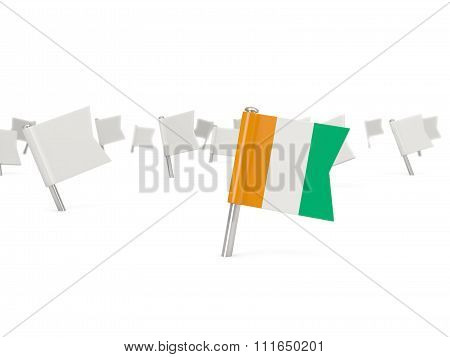 Square Pin With Flag Of Cote D Ivoire