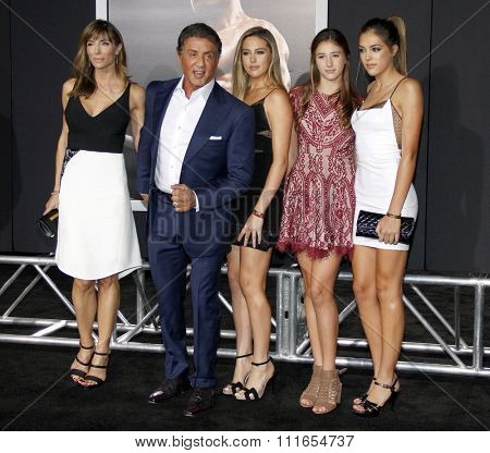 Sistine Rose Stallone, Jennifer Flavin, Sylvester Stallone, Sophia Rose and Scarlet Rose Stallone at the LA premiere of 'Creed' held at the Regency Theatre in Westwood, USA on November 19, 2015.