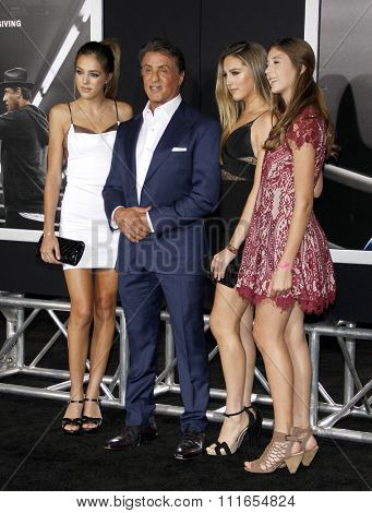 Sistine Rose Stallone, Sylvester Stallone, Sophia Rose Stallone and Scarlet Rose Stallone at the Los Angeles premiere of 'Creed' held at the Regency Theatre in Westwood, USA on November 19, 2015.