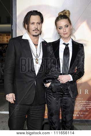 Johnny Depp and Amber Heard at the Los Angeles premiere of 'The Danish Girl' held at the Westwood Village Theatre in Westwood, USA on November 21, 2015.