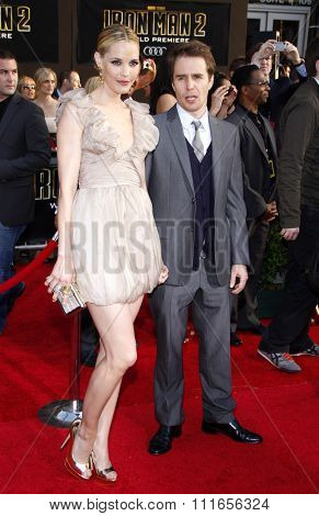 HOLLYWOOD, CALIFORNIA - April 26, 2010. Leslie Bibb and Sam Rockwell at the World premiere of