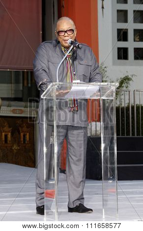 Quincy Jones at the Michael Jackson Hand And Footprint Ceremony held at the Grauman's Chinese Theater, California, United States on January 26, 2012.