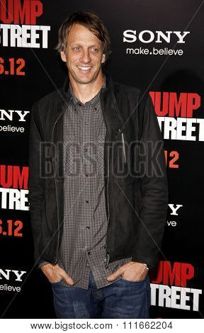 HOLLYWOOD, CALIFORNIA - March 13, 2012. Tony Hawk at the Los Angeles premiere of