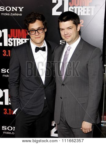 HOLLYWOOD, CALIFORNIA - March 13, 2012. Phil Lord and Chris Miller at the Los Angeles premiere of