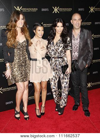 Khloe Kardashian, Kourtney Kardashian, Kim Kardashian and Bruno at the Kardashian Kollection Launch Party held at the Colony in Los Angeles, California, United States on August 17, 2011.