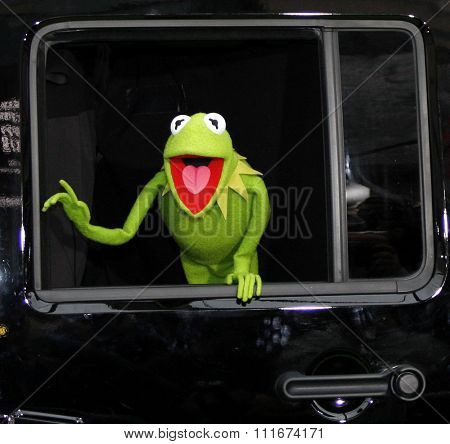 HOLLYWOOD, CALIFORNIA - November 12, 2011. Kermit the Frog at the World premiere of