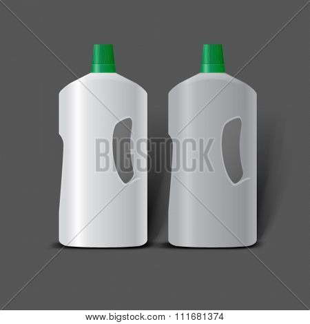 Mockup template for branding and product designs. Isolated realistic plastic bottles with shadows. Easy to use for advertising. Cleaning products layout.