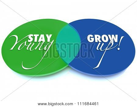 Stay Young and Grow Up words on a venn diagram of two overlapping green and blue circles