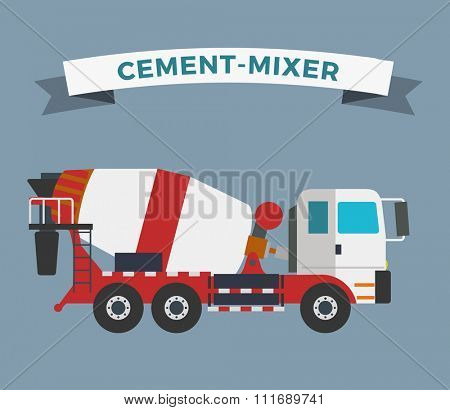 Building under construction cement mixer machine machine technics vector illustration. Building cement mixer machine truck vector. Under construction vector concept. Mixer vector isolated.Cement mixer