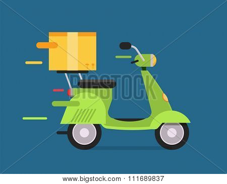 Delivery vector transport moto bike motorcycle box pack. Delivery service, delivery bike, delivery motorcycle. Delivery box silhouette. Product goods shipping transport. Fast delivery motorcycle icon