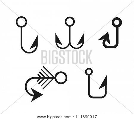 Fishing anchors hooks black icons vector illustration. Fishing hooks, fishing anchors, fishing icons. Fishing hooks and fishing anchors. Fishing symbols. Fishing elements. Fishing hook hobby icons