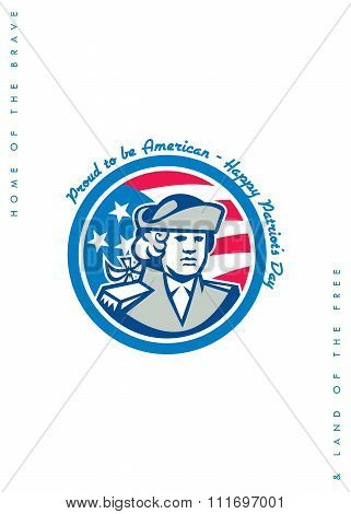 Patriots Day Greeting Card American Patriot Bust Stars And Stripes Flag