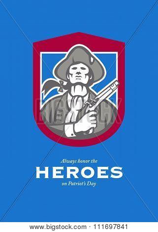 Patriots Day Greeting Card American Patriot With Flintlock Shield
