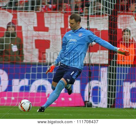 MUNICH, GERMANY - DECEMBER 12 2015: Manuel Neuer of Bayern Munich  during the Bundesliga match between Bayern Muenchen and FC Ingolstadt, on December 12, 2015 in Munich, Germany.
