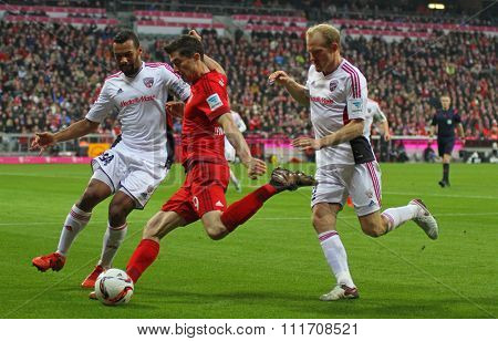 MUNICH, GERMANY - DECEMBER 12 2015: Robert Lewandowski of Bayern Munich during the Bundesliga match between Bayern Muenchen and FC Ingolstadt, on December 12, 2015 in Munich, Germany.