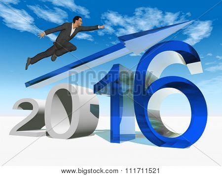 Conceptual 3D human man businessman flying  over an blue 2016 year symbol with an arrow on blue sky for economy, finance, corporate, growth, future, goal, progress, success, improvement profit designs