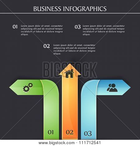 Business Infographic layout with colorful creative arrows and web icons for professional presentations and reports.