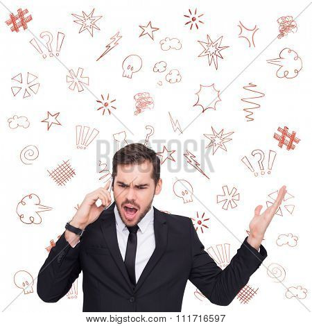 Angry businessman gesturing on the phone against swearing doodles