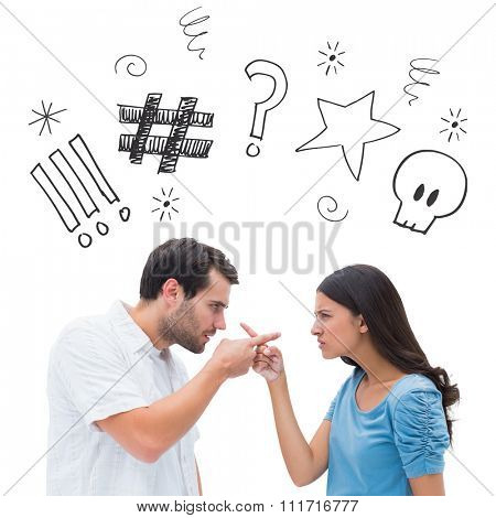 Angry couple pointing at each other against swearing doodles