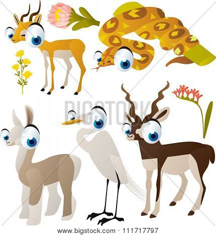 vector cute cartoon set of comic animals:impala, boa, llama, egret, antelope. useful for kids mobile apps, flash card games, invitations, wall decor and other