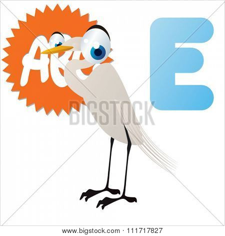 vector cartoon comic illustration for animal funny alphabet. Badges, stickers or logos or icons designs with animals. E is for Egret