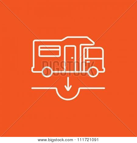 Motorhome and sump line icon for web, mobile and infographics. Vector white icon isolated on red background.