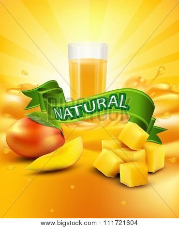 background with mango, a glass of juice, slices of mango, green ribbon