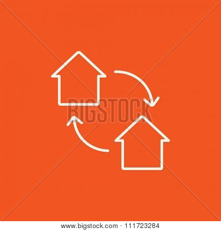 House exchange line icon for web, mobile and infographics. Vector white icon isolated on red background.