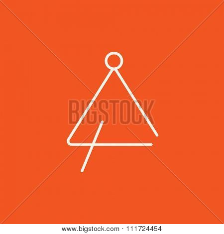 Triangle line icon for web, mobile and infographics. Vector white icon isolated on red background.